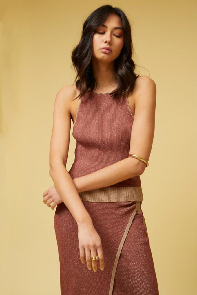 Leah Knit Tank Top - Rust