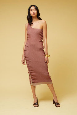 Leah One Shoulder Dress - Rust *PRE-ORDER*