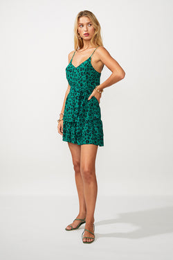 Leopard Lights Belted Bias Cut Cami - Green Print