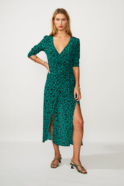 Leopard Lights Maxi Wrap Dress - Green Print