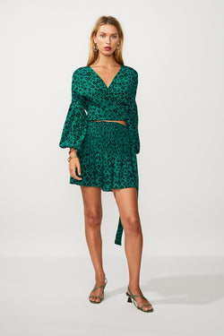 Leopard Lights Wrap Long Sleeve Top - Green Print