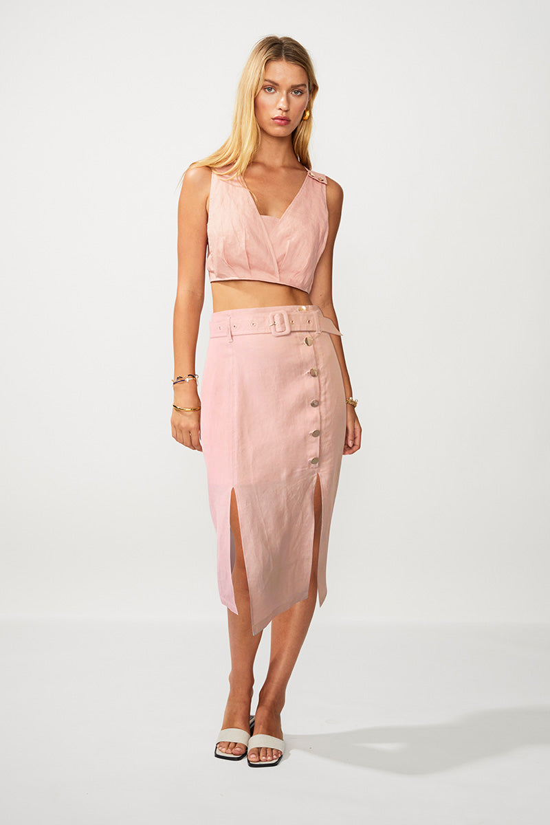 Manny Utility Button Front Midi Skirt - Pink
