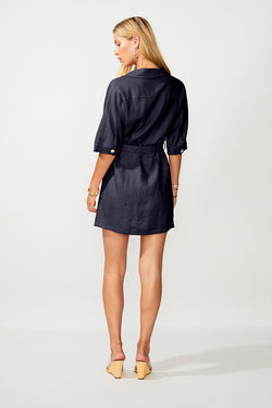 Manny Utility Wrap Mini Dress - Navy