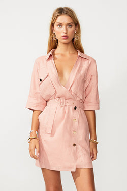 Manny Utility Wrap Mini Dress - Pink