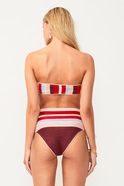 Midsummer Knitted Bandeau Top - Pink/Red Stripe