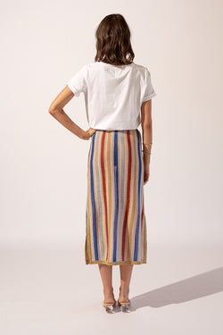 Mila Stripe Split Side Skirt