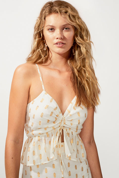 Montana Gathered Front Cami - Ivory/ Gold Spot
