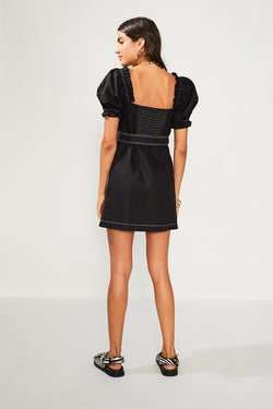 Naomi  Black Linen Mini Dress