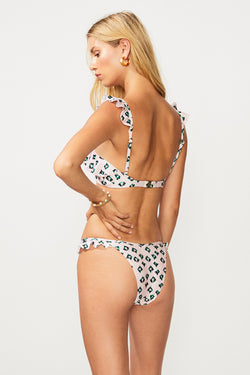 On The Fly High Cut Frill Bikini Bottom - Multi Print