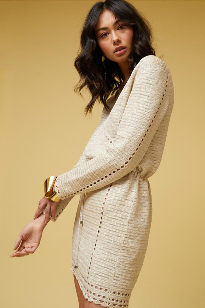 Pia Crochet Long Sleeve Wrap Dress