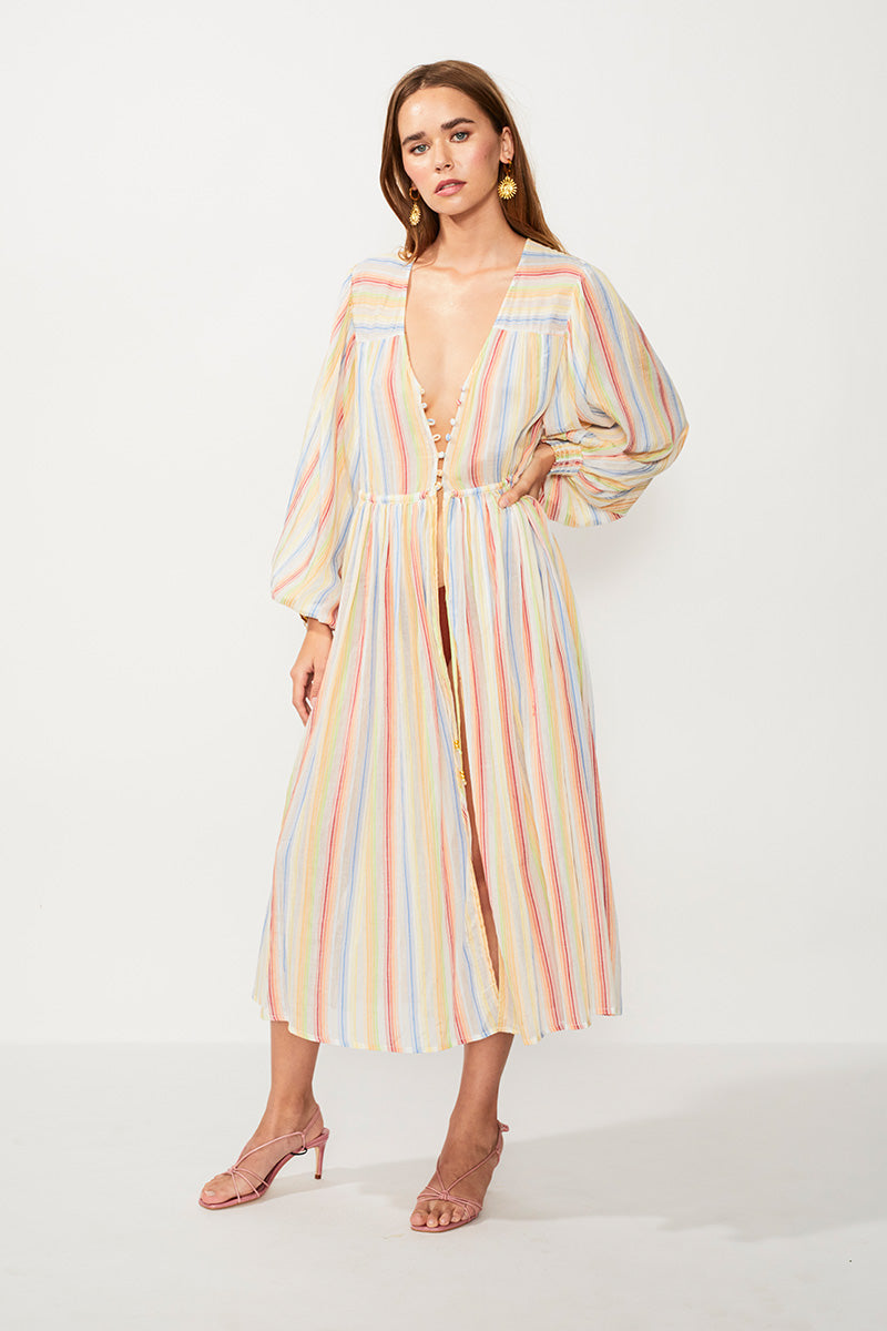Playhouse Balloon Sleeve Midi Robe - Multi