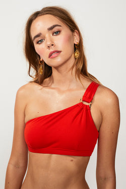 Rocky One Shoulder Bikini Top - Tangerine