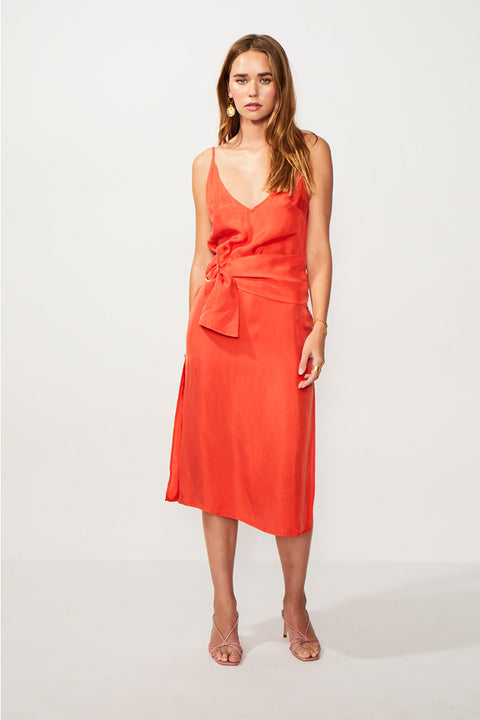 Rocky Gathered Belt Slip Dress - Tangerine