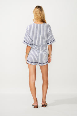 Rush Stripe Button Short - Ivory/ Navy