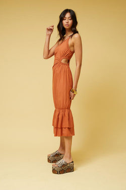 Saga One Shoulder Dress - Rust