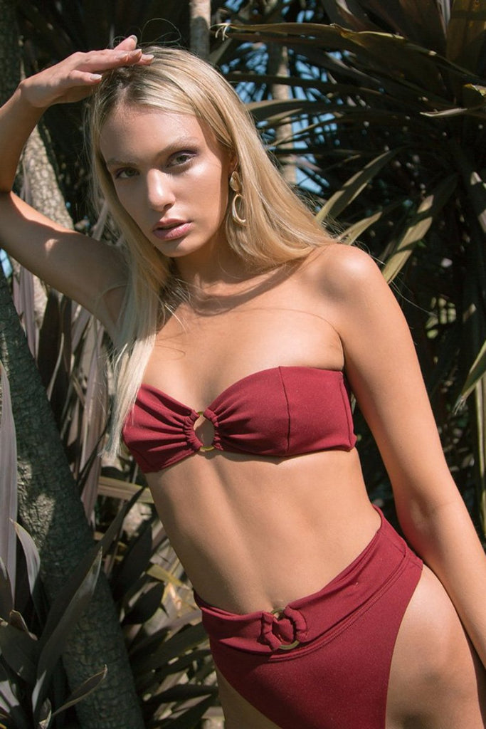 Savanah Belted Super High Cut Bottoms - Wine