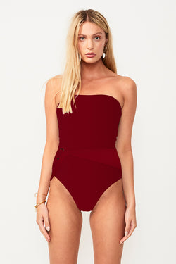 Savanah Belted Strapless One Piece - Wine