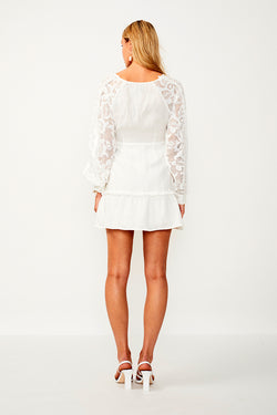 Novella Lace Insert Wrap Dress - White