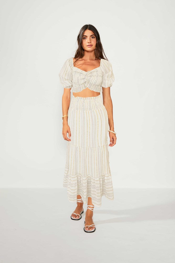 Giselle Shirred Midi Skirt