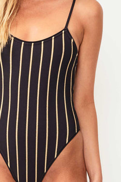 Golden Knitted Stripe High Cut One Piece - Char/Gold
