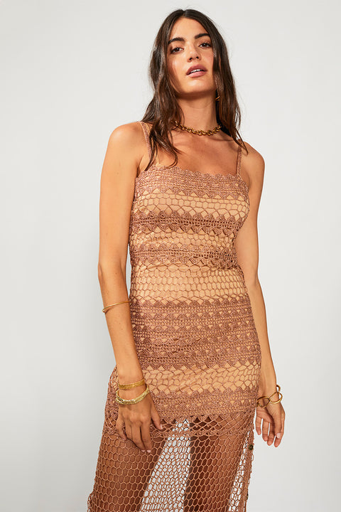 Stella Button Side Long Crochet Dress