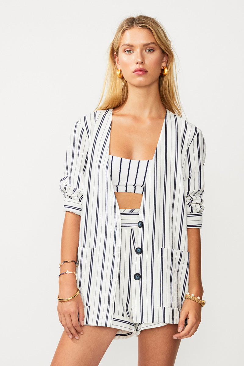 Straighty 180 Open Back Blazer - Ivory/ Navy