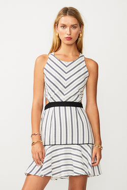 Straighty 180 Tie Back Mini Dress - Ivory/ Navy