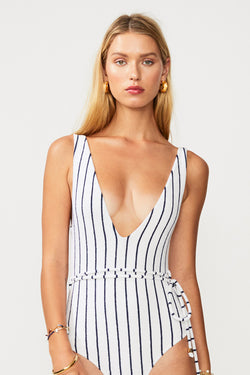 Straighty 180 Belted One Piece - Ivory/ Navy
