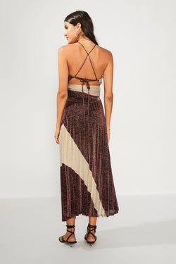 Tyra Pleat Panelled Midi Skirt