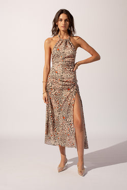 Uma Gathered Halter Maxi Dress