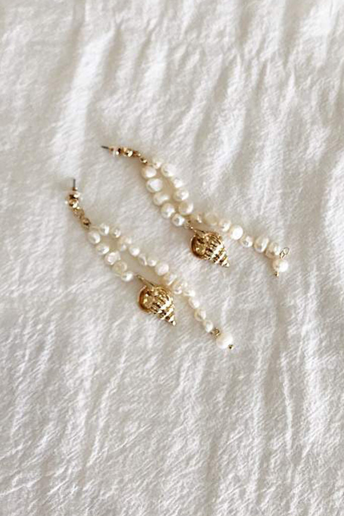 Ursula Pearl Drop Earrings - Gold