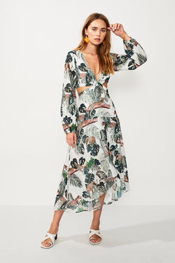 Xenia Cut Out Balloon Sleeve Dress - Xenia Print