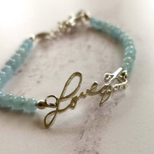 Aquamarine bracelet with your loved ones handwriting