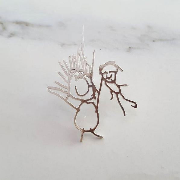 Your childs drawing as a jacket or tie pin in sterling silver