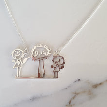 Your childrens drawing family portrait necklace in sterling silver