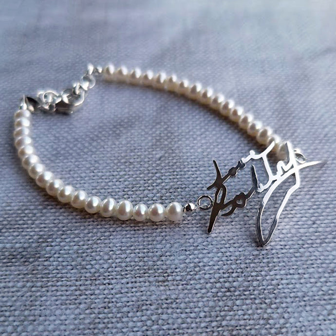 Pearl Handwriting Bracelet