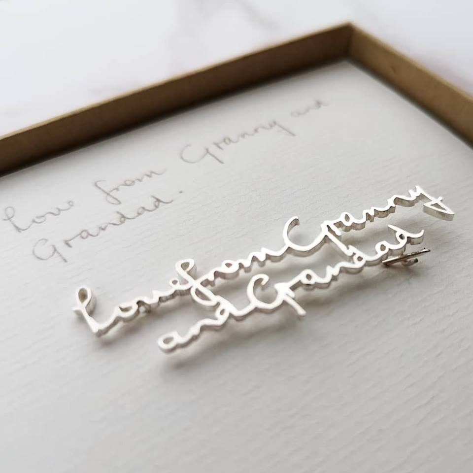Memorial keepsake loved ones actual handwriting brooch