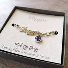 Handwriting bracelet with December birthstone Tanzanite