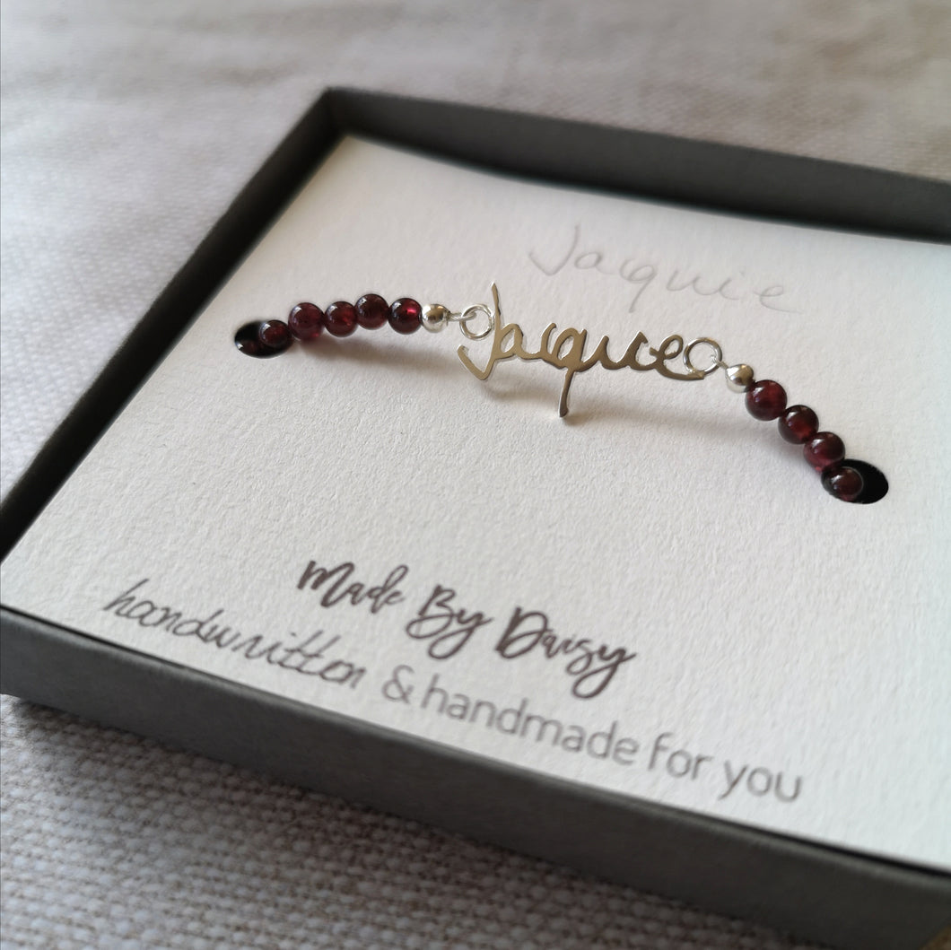 Garnet Handwriting Bracelet