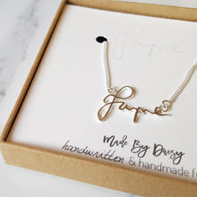 Handwriting necklace handmade using actual handwriting.
