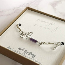 Actual handwriting bracelet with amethyst