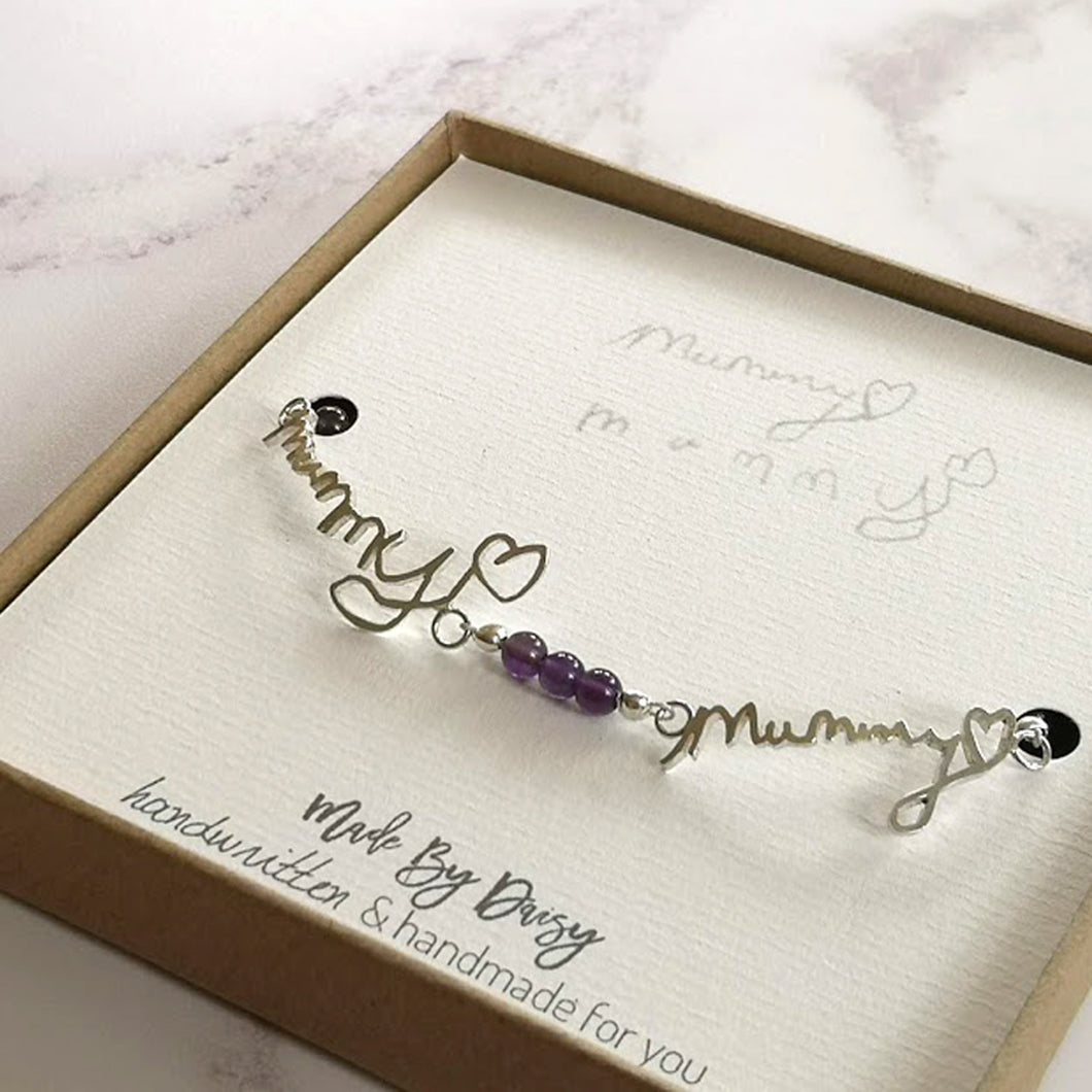 Gemstone Bracelet with Two Pieces of Handwriting