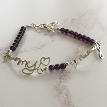 Actual handwriting bracelet in sterling silver with amethyst