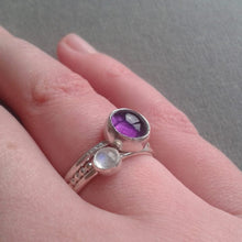 Amethyst and Moonstone Stacking Ring Set