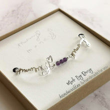 Loved ones handwriting bracelet with amethyst