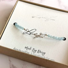 Handwriting bracelet with aquamarine