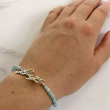 Aquamarine bracelet with actual handwriting in silver