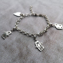 Kids drawing silver charm bracelet