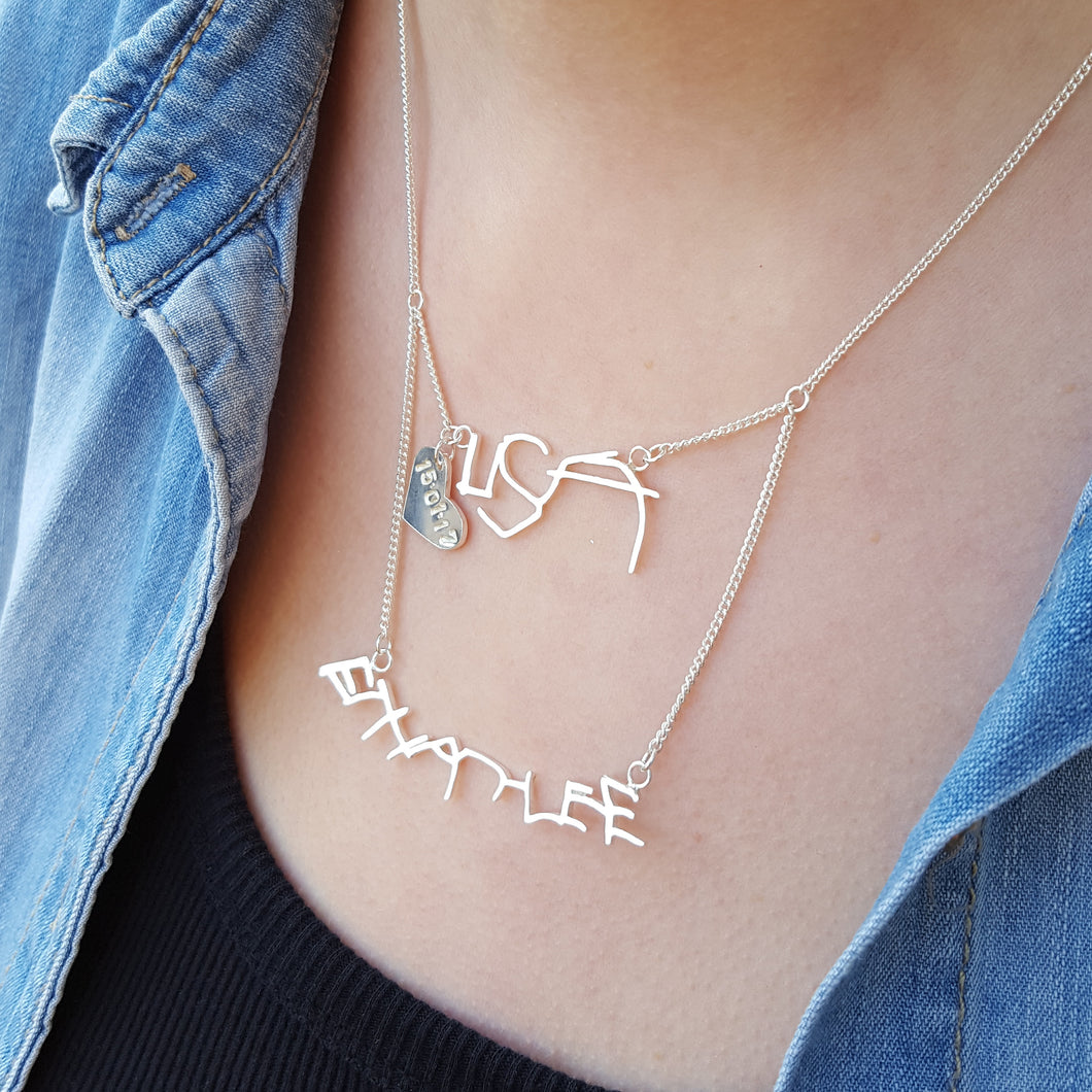 Layered Keepsake Handwriting Necklace