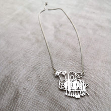 Personalised Silver Necklace Using Your Childs Drawing - Single Character